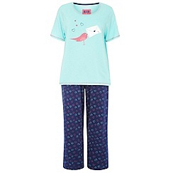 Evans - Navy blue love bird pyjamas