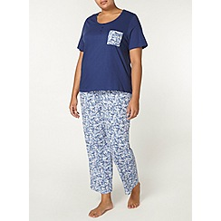 Evans - Navy and blue ditsy floral pyjamas