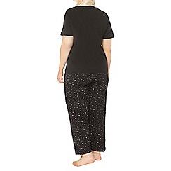 Evans - Black leaf print pyjama set