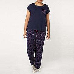 Evans - Navy stretchy pyjama set