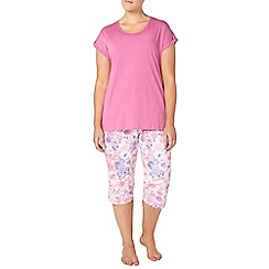 Evans - Pink floral print pyjama set
