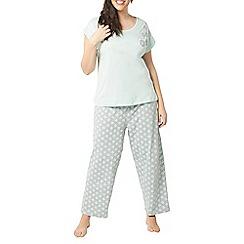 Evans - Mint geometric floral print pyjama set