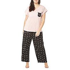 Evans - Pink cat face pyjama set