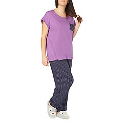 Evans - Purple multi spot pyjama set
