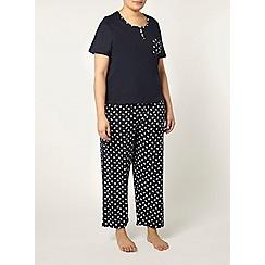 Evans - Navy floral print pyjamas