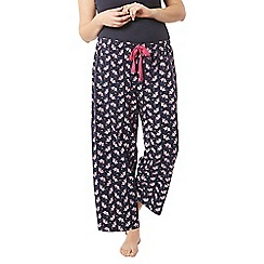 Evans - Navy blue love bird print pyjama bottoms
