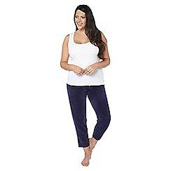 Evans - Navy blue fleece lounge trousers