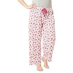 Evans - Pink kisses print pyjama bottoms