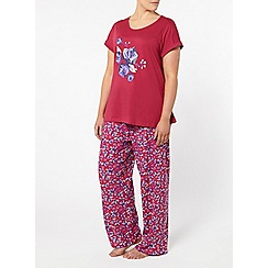 Evans - Pink rose motif pyjama set