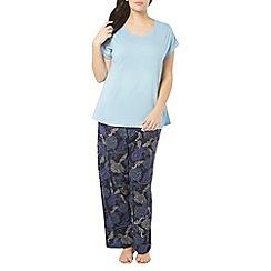 Evans - Navy blue paisley pyjama set