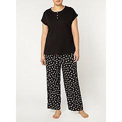 Evans - Black bow print pyjama set
