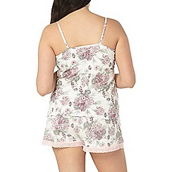 Evans - Ivory floral bouquet short pyjama set