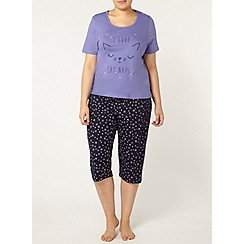 Evans - Purple cat naps print cropped pyjama set