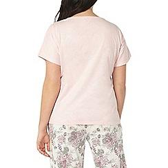 Evans - Pink floral bouquet cropped pyjama set