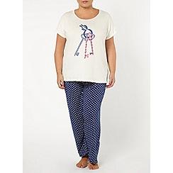 Evans - Navy key motif pyjamas