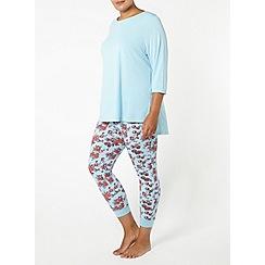 Evans - Blue floral print leggings pyjama set