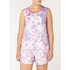 Evans - Pink printed shorts pyjama set