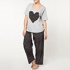Evans - Silver heart pyjama set