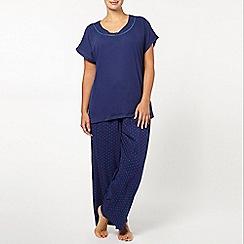 Evans - Navy blue spot print pyjama set