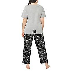 Evans - Grey rabbit print pyjama set