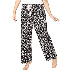 Evans - Black daisy print pyjama bottoms