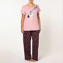 Evans - Purple perfume bottle print pyjama set