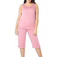 Evans - Rose pink frill cropped pyjama