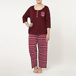 Evans - Burgundy fairisle pyjama set