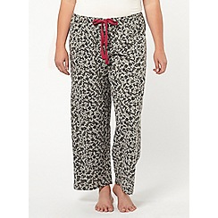 Evans - Grey floral print pyjama bottoms