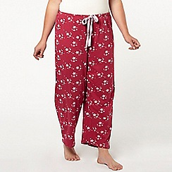 Evans - Berry star print pyjama bottoms
