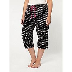 Evans - Black floral print crop pyjama pant