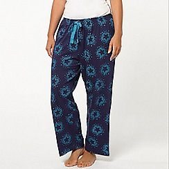 Evans - Navy blue scattered star print pyjama pants