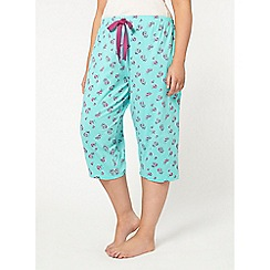 Evans - Mint green floral print crop pyjama pant