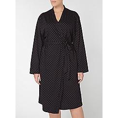 Evans - Black spot print dressing gown
