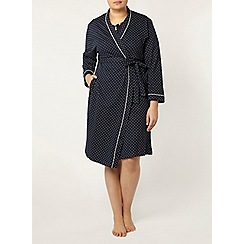 Evans - Navy spot print dressing gown
