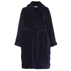 Evans - Navy diamond sheered robe