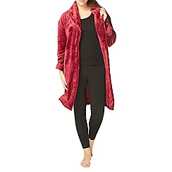 Evans - Berry red sheared heart dressing gown