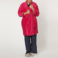 Evans - Hot pink shawl collar robe