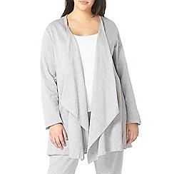 Evans - Grey lace lounge cardigan