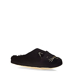 Evans - Black cat mule slipper