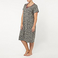 Evans - Grey floral midi nightdress