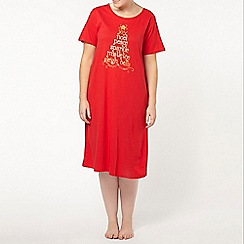 Evans - Red festive midi night dress