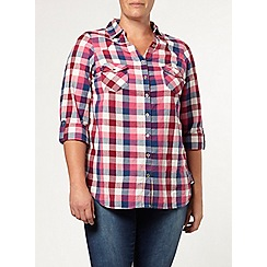 Evans - Pink and navy check shirt