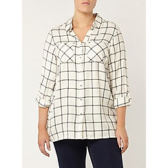 Evans - Ivory and black check shirt