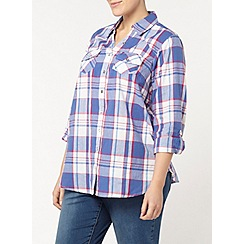 Evans - Purple and white check shirt