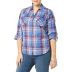 Evans - Purple busty check shirt