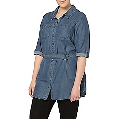 Evans - Blue tencel longline shirt