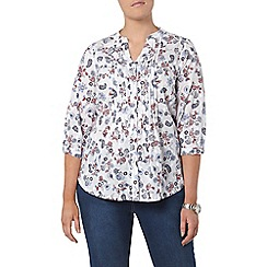 Evans - Ivory printed textured shirt
