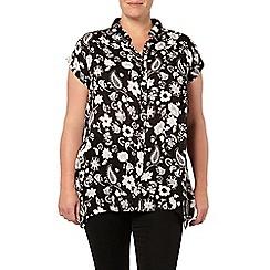 Evans - Black paisley hanky hem shirt
