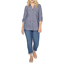 Evans - Blue chambray embroidered shirt